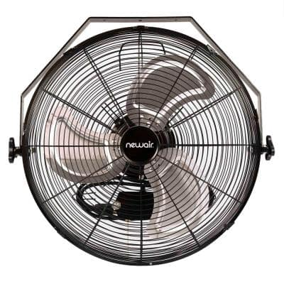 18 in. High Velocity Wall Mounted Fan with 3 Fan Speeds, Sealed Motor Housing and Ball Bearing Motor - Black