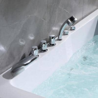 71 in. Acrylic Right Drain Rectangular Alcove Whirlpool Bathtub in White with 16 Water Jets