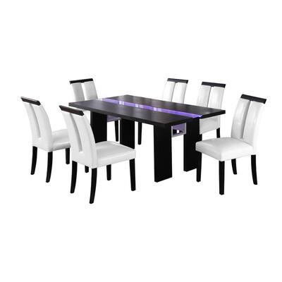 Best Master Furniture Timur 7-Piece Black Rectangular Dining Set w/ LED Lighting