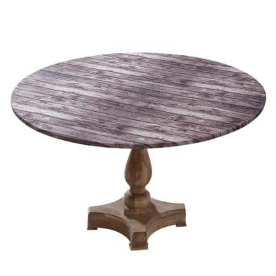 """42"""" Cotton Fabric Fitted Table Cover, Brown Wood"""