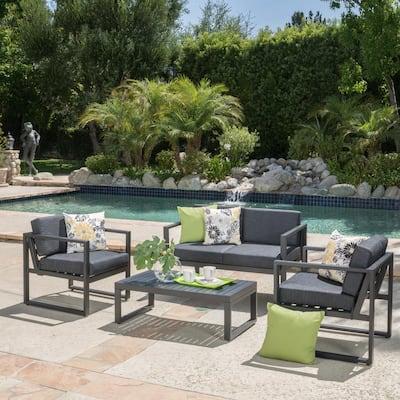 Navan Dark Gray 4-Piece Aluminum Patio Conversation Set with Dark gray Cushions