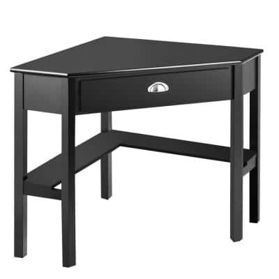 28 in. Corner Black 1 Drawer Computer Desk with Solid Wood Material