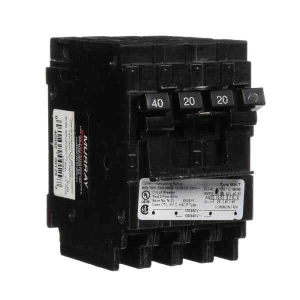 Murray 40 20 Amp Double Pole Type Mh T Quad Plug In Circuit Breaker Mp220240ct2 The Home Depot