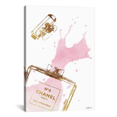 """Gold Perfume Bottle With Pink Splash"" by Amanda Greenwood Canvas Wall Art"