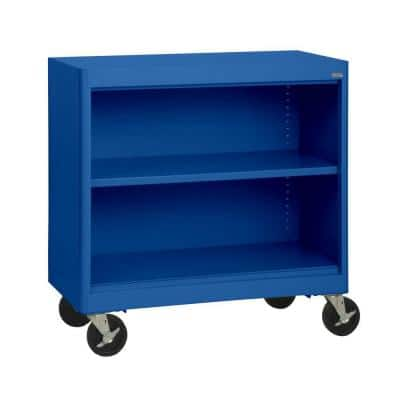 36 in. Blue Metal 2-shelf Cart Bookcase with Adjustable Shelves