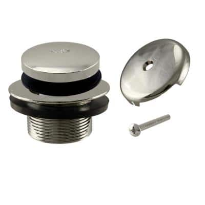 1-1/2 in. NPSM Coarse Thread Tip-Toe Bathtub Drain Plug with 1-Hole Overflow Faceplate in Polished Nickel