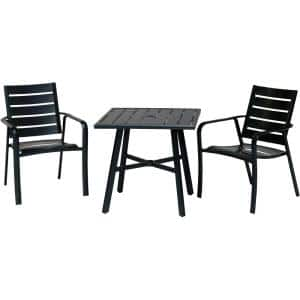 Cortino 3-Piece Commercial Rust-Free Aluminum Outdoor Bistro Set with Slat-Back Dining Chairs and 30 in. Slat-Top Table
