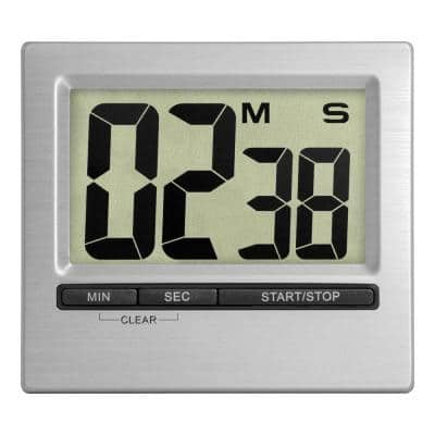 Square Silver Indoor Station with Digital Countdown Timer and Stopwatch