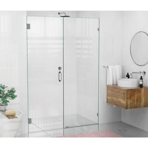 Glass Warehouse 53 In X 78 In Frameless Wall Hinged Shower Door In Brushed Nickel Gw Wh 53 Bn The Home Depot