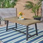 Raphael Sandblast Grey and Black Rectangular Wood Outdoor Dining Table