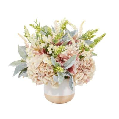 22 in. L x 26.5 in. H Mauve Hydrangea with Lambs Ear Pink and White Astilbe and Pink Buds