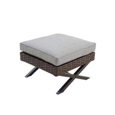 Wicker Outdoor Ottoman with Gray Cushion