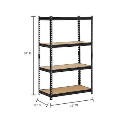 Black 4-Tier Heavy Duty Steel Garage Storage Shelving (36 in. W x 60 in. H x 18 in. D)
