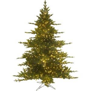 7.5 ft. LED Pacific Pine Green Christmas Tree with Color Changing Rice Lights