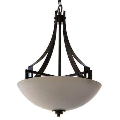 Trent 1-Light Black with Glass Shade Pendant