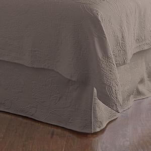 Putnam Matelasse 14 in. Stone Cotton Queen Bed Skirt