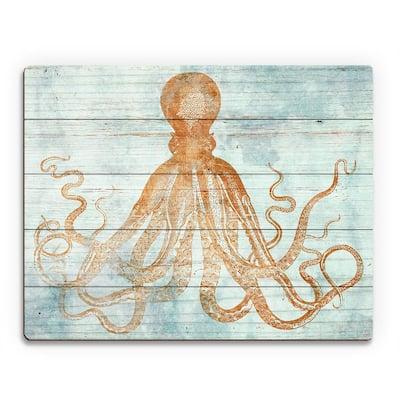 "11 in. x 14 in. ""Vintage Octopus Sandstone"" Planked Wood Wall Art Print"