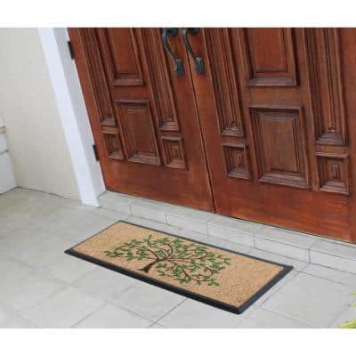 A1HC First Impression Hand-Crafted Life of Tree Green/Brown 16 in. x 48 in. Rubber Coir Double Doormat