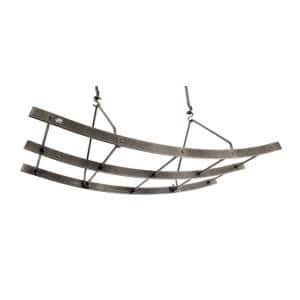 Handcrafted Reversible Arch Ceiling Pot Rack with 12 Hooks Hammered Steel
