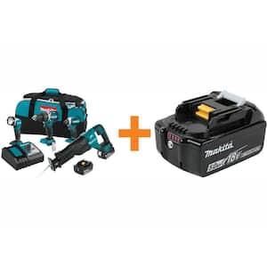 18-Volt LXT Brushless Cordless Combo Kit Hammer Drill/ Impact Driver/Recipro SawithFlashlight with Bonus Battery 5.0 AH