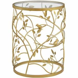 16.5 x 16.5 x 22 in Round Metal Gold Large Bird And Branches Side Table