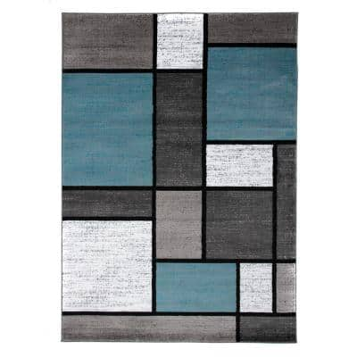 Contemporary Geometric Boxes Blue/Gray 6 ft. 6 in. x 9 ft. Indoor Area Rug