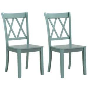 2-Piece Mint Green Cross Back Solid Wood Dining Chair