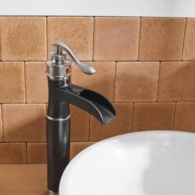Mixed Color Single-Handle Single Hole Bathroom Faucet in Brushed Nickel and Oil Rubbed Bronze