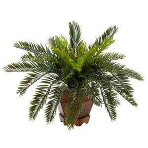 15 in. H Green Cycas with Hexagon Vase Silk Plant