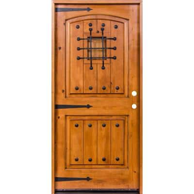 36 in. x 80 in. Mediterranean Knotty Alder Arch Top Unfinished Single Right-Hand Inswing Prehung Front Door