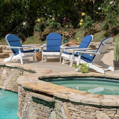 Malibu White Wood Adirondack Chair with Navy Blue Cushion (4-Pack)