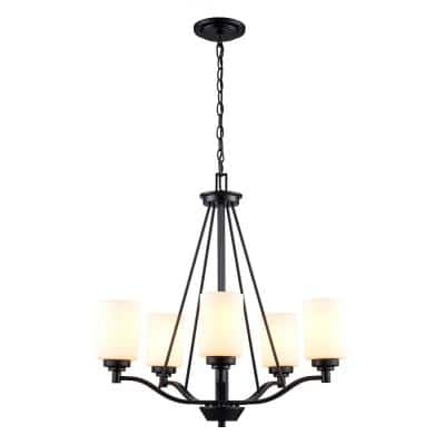 Mod Pod 5-Light Black Chandelier with Frosted Glass Cylinder Shades