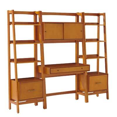 83 in. U-Shaped Acorn 3 Drawer Ladder Desk with Built-In Storage