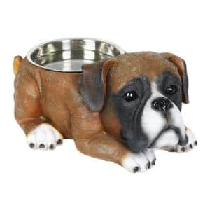 Boxer 13 in. x 5.5 in. Resin Statue with Stainless Insert Bowl Dog in MultiColor
