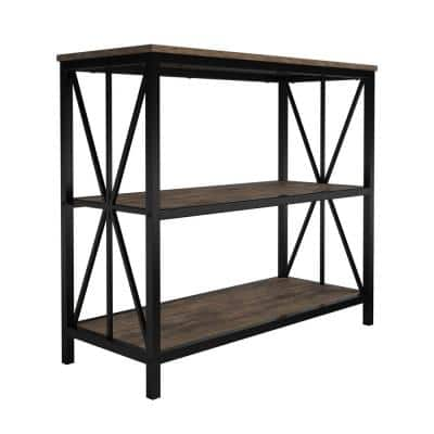 31.25 in. Brown Wood 3-Shelf Etagere Bookcase with Steel Frame