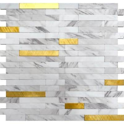 Stack White and Gold 11.6 in.x11.5 in. Metal Peel and Stick Backsplash Tile for Kitchen and Bathroom (9.26 sq ft/ Case)
