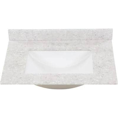 31 in. W x 22 in. D Stone Effect Vanity Top in River Stone with White Sink