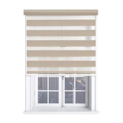 Modern Free Stop Taupe Cordless Light Filtering Polyester Zebra Roller Shade with Cassette Valance 35 in. W x 72 in. L