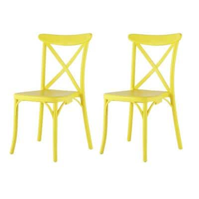 Stackable X Yellow Dining Chair (Set of 2)