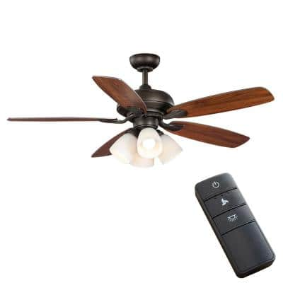 Hollis 52 in. Indoor LED Bronze Downrod Ceiling Fan with 5 QuickInstall Reversible Blades, Light Kit and Remote Control
