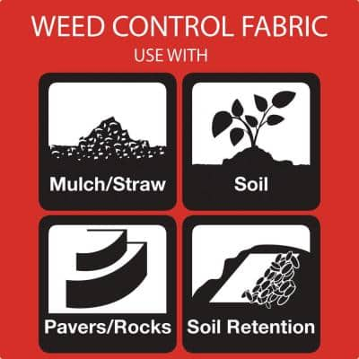 6 ft. x 100 ft. Heavy-Duty Woven Contractor Ground Cover Weed Barrier Landscape Fabric, Heavy Duty, Commercial Grade