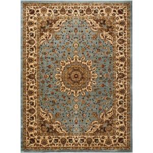 Delano Blue 9 ft. x 12 ft. Oriental Traditional Area Rug