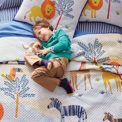 Jungle Animals Reversible Cotton Jersey Textured Quilt