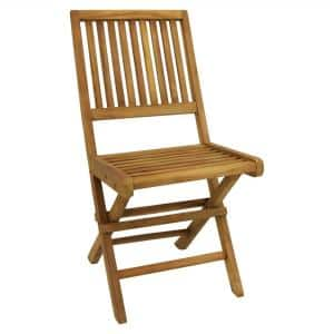 Nantasket Light Brown Folding Chair Teak Outdoor Dining Chair