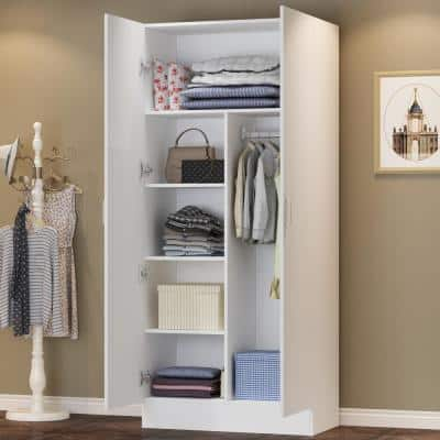 White 2-Door Wardrobe Armoire with Hanging Rod and Storage Shelves (71 in. H x 31.5 in. W x 15.7 in. D)
