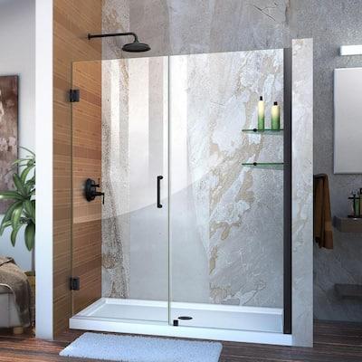 Unidoor 58 to 59 in. x 72 in. Frameless Hinged Shower Door in Satin Black
