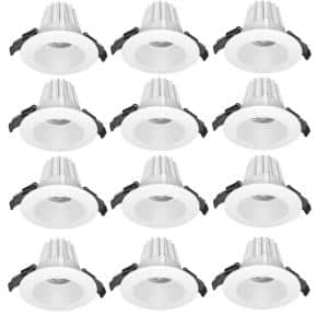 2 in. Canless 3000K New Construction/Remodel 90 CRI Anti-Glare Dimmable Integrated LED Recessed Light Kit (12-Pack)