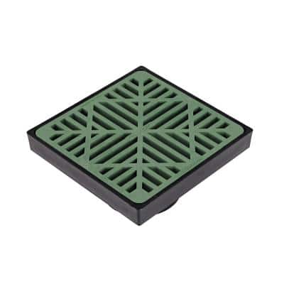9 in. Plastic Square Low Profile Drainage Catch Basin with Grate in Green