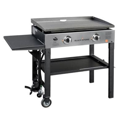 28 in. 2-Burner Griddle Propane Cooking Station in Black and Stainless Steel