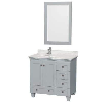 Acclaim 36 in. W x 22 in. D Vanity in Oyster Gray with Marble Vanity Top in Carrera White with White Basin and Mirror